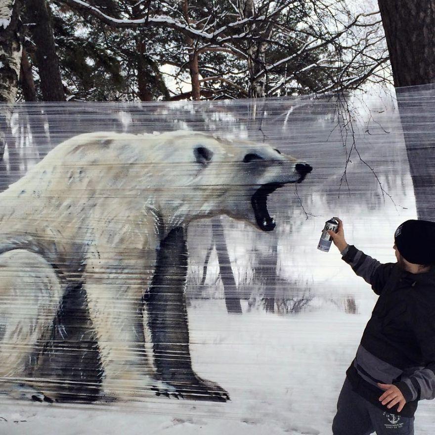 Adding the finishing touches to the polar bear